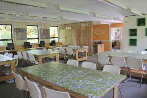 The Learning Lodge has movable tables and space for activities