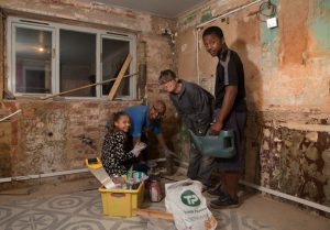 A family affair - gutting the kitchen that was rotten with condensation then rebuilding.